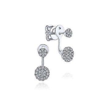 14KW Diamond Cluster Jacket Earrings w/ 0.50 ctw