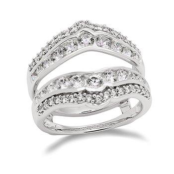 14KW Diamond Ring Guard w/ 1.5 ctw, Size 7
