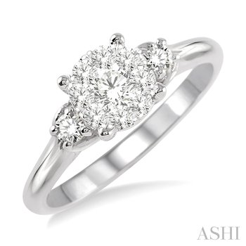 """14KW Diamond """"LoveBright"""" Three Stone Style Cluster Engagement Ring w/ 0.45 ctw Size 6.75"""