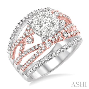 14KW Lovebright Two Tone Ring w/ 1.60 ctw Size 7.0