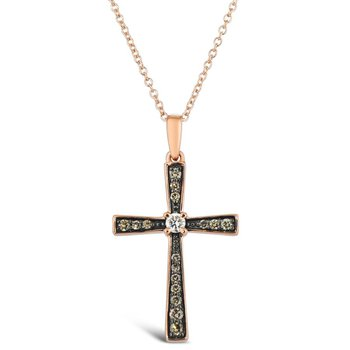 "14KR Diamond Cross Pendant w/ 0.20 ctw, 18"" Chain"