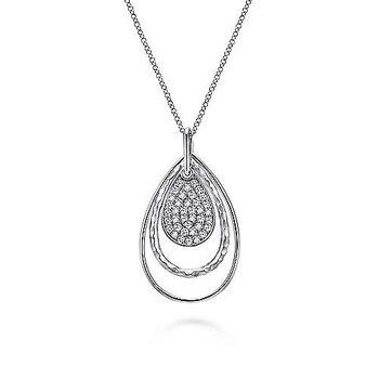 "Sterling Silver White Sapphire Pendant 15.5"" - 17.5"" Chain"