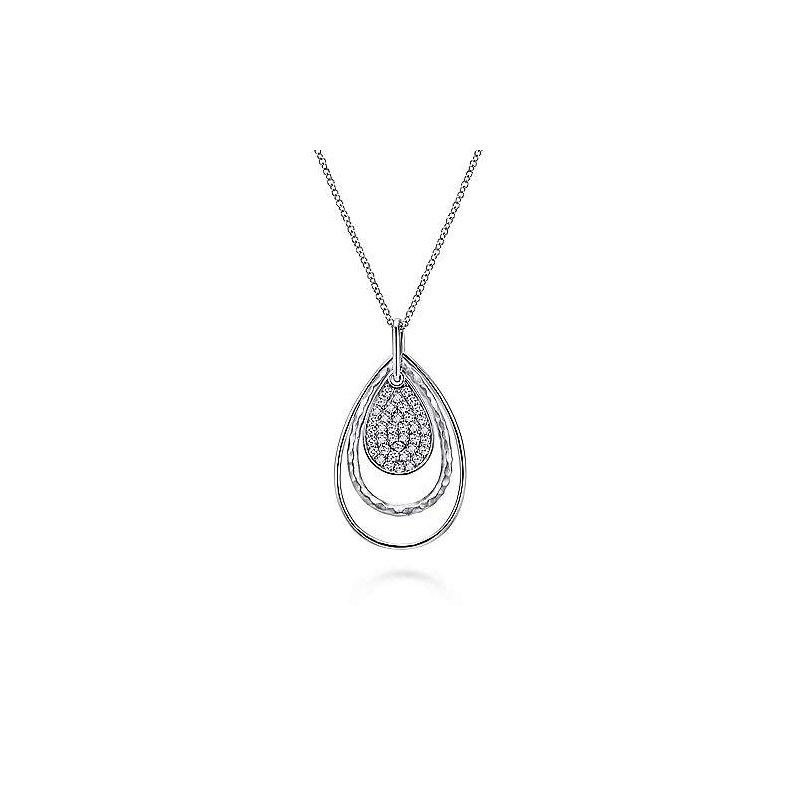 "Gabriel & Co. Sterling Silver White Sapphire Pendant 15.5"" - 17.5"" Chain"