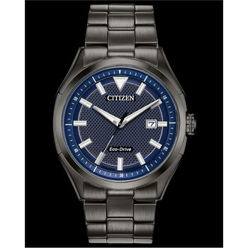 Stainless Steel Black Tone Eco-drive Watch w/ Blue Face