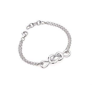 Sterling Silver Diamond Love Knot Bracelet w/ 0.01 ctw