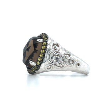 Sterling Silver Fashion Brown Stone & Citrine Ring, Size 7