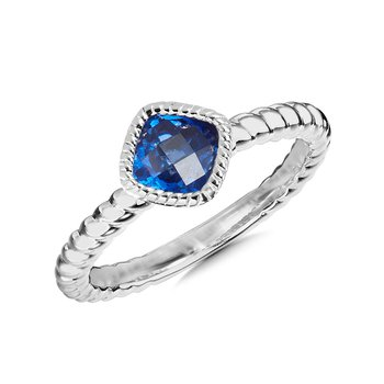 Sterling Silver Created Sapphire Ring, Size 7