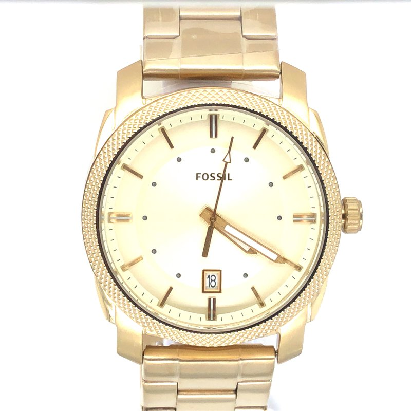 Fossil Stainless Steel Round Gold Face