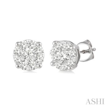 """14KW """"Lovebright"""" Diamond Stud Cluster Earrings w/ 0.50 ctw"""