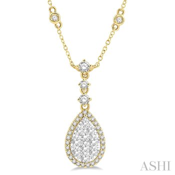 """14KY """"Lovebright"""" Diamond Pear Shaped Necklace w/ 1.0 ctw 18"""" Chain"""