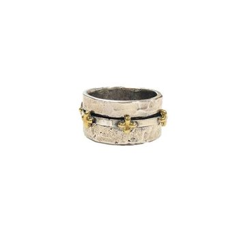 Sterling Silver & Brass Faith Spinner Ring, Size 8