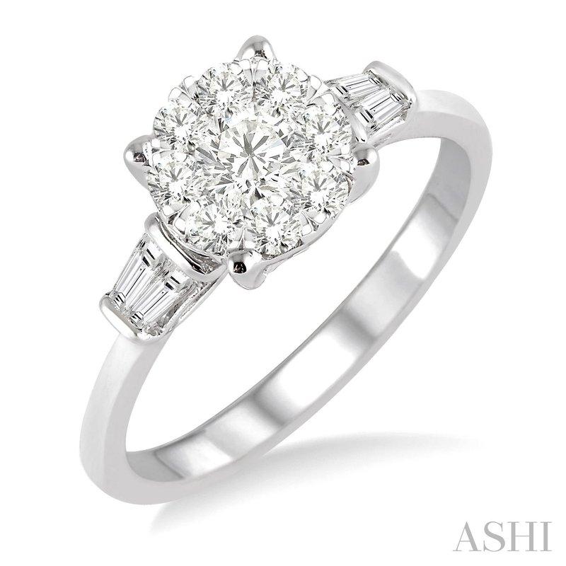 14KW Round Cut Diamond Lovebright Engagement Ring w/ 0.70 ctw, Size 6.75