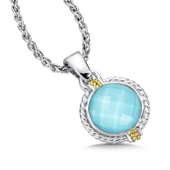 Sterling Silver Two Tone Turquoise Pendant and Chain