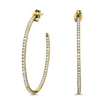 14KY Diamond Large Hoop Earrings w/ 1.0 ctw