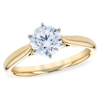 14KY Diamond Engagement Ring Solitaire w/ 0.04ctw,  Size 7