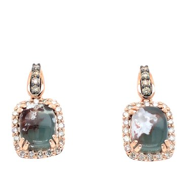 14KR Peacock Aquaprase and Diamond Dangle Earrings w/ 6.55 ct Aqu. & 0.80 ct Dia.