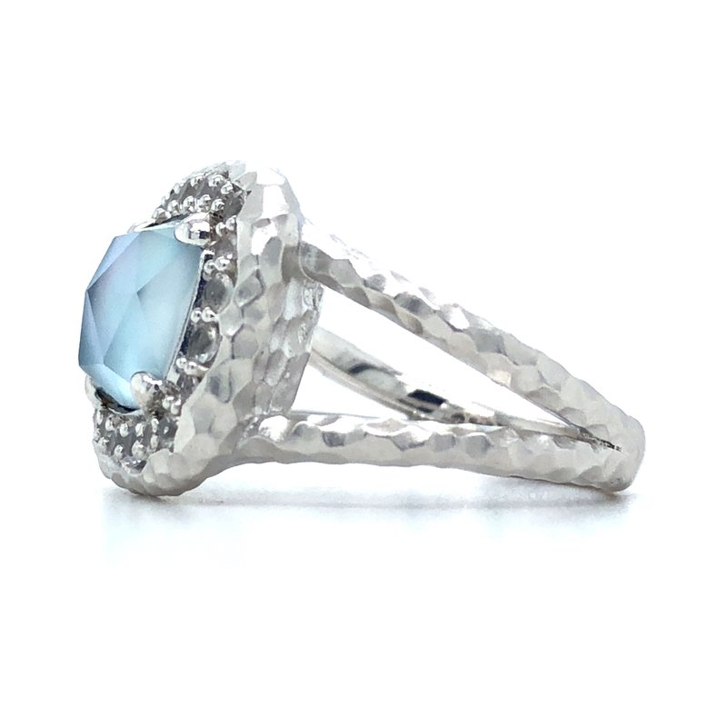Gabriel & Co. Sterling Silver Rock Crystal, White MOP, Turquoise, and White Sapphire Ring, Size 7