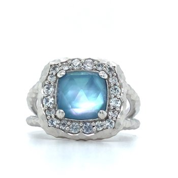 Sterling Silver Rock Crystal, White MOP, Turquoise, and White Sapphire Ring, Size 7