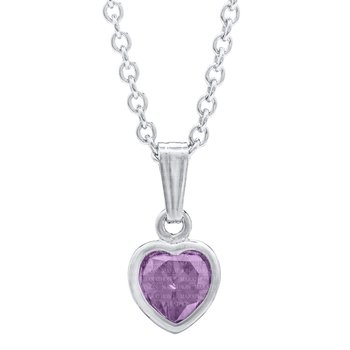 "Sterling Silver Heart June CZ Birthstone Pendant 13"" Chain"