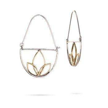 Lotus Hoops Sterling Silver/Brass