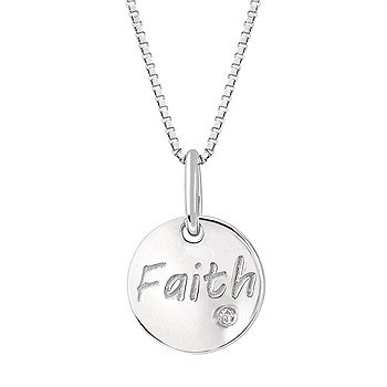 "Sterling Silver Diamond Faith Pendant w/ 0.01 ctw, 18"" Box Chain"