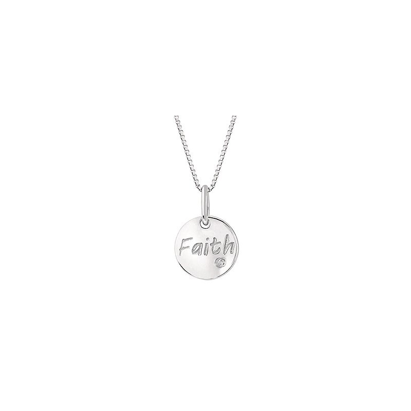 """Green Brothers Collection Sterling Silver Diamond Faith Pendant w/ 0.01 ctw, 18"""" Box Chain"""