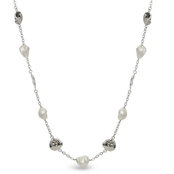 """Sterling Silver Natural Pink Freshwater  Cultured Pearl Station Necklace w/ 11 -- 12 mm Pearls, 22"""" Link Chain"""