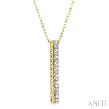 "14KY Diamond Rope Bar Pendant w/ 0.15 ctw, 18"" Chain"