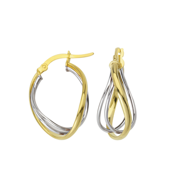 10KT White and Yellow Gold Intertwined Hoop Earrings