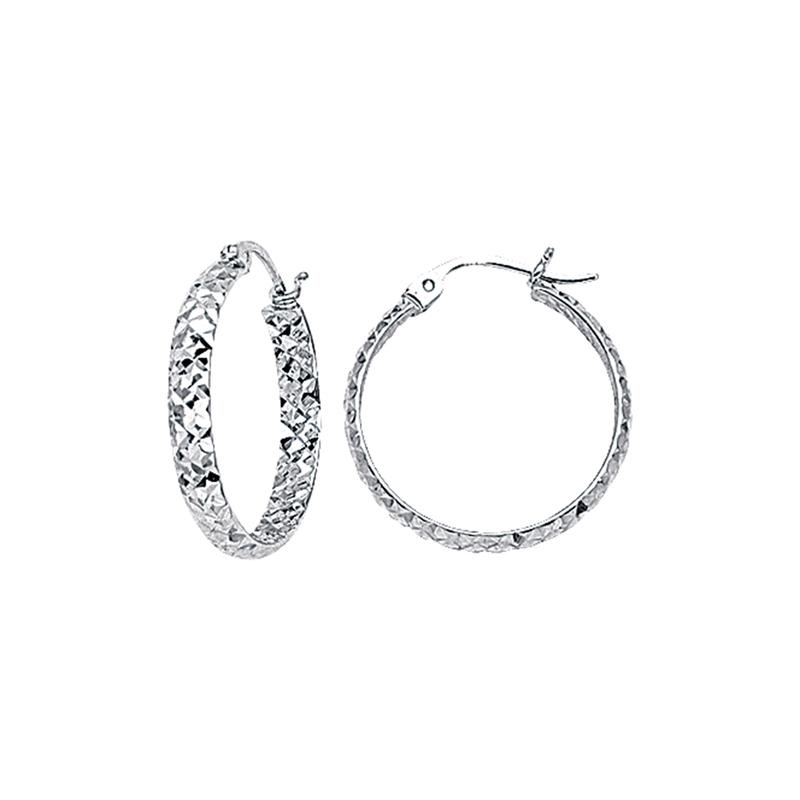 Best Sellers Sterling Silver 20mm Diamond Cut Hoop Earrings