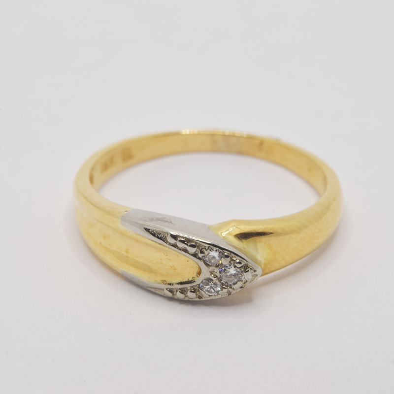 Estate 18KT Yellow and White Gold Diamond Ring