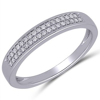 Lady's Sterling Silver Diamond Band