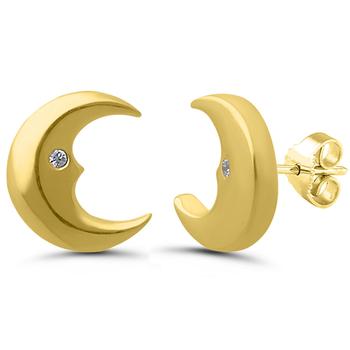 Pair of 1/2 Moon 10k Yellow Gold Diamond Studs