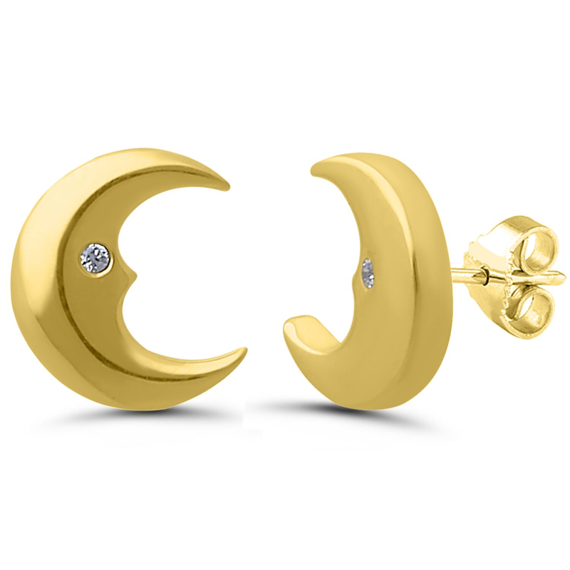 Best Sellers Pair of 1/2 Moon 10k Yellow Gold Diamond Studs