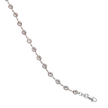 Sterling Silver Bracelet & Rhodium with CZ Stones