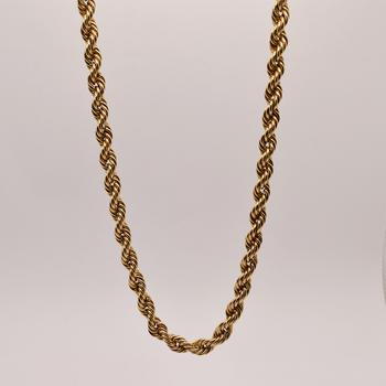 """19"""" 10KT Yellow Gold Hollow Rope Chain"""