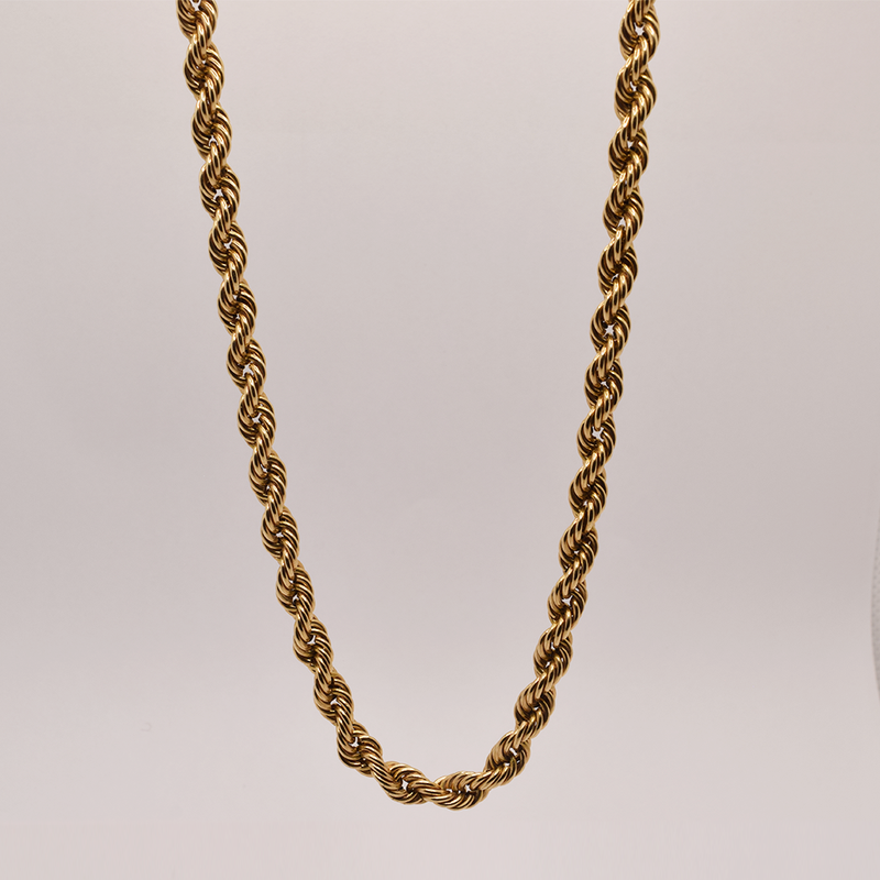 """Estate 19"""" 10KT Yellow Gold Hollow Rope Chain"""