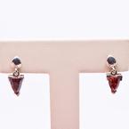 Estate Sterling Silver Garnet Drop Earrings