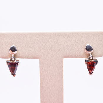 Sterling Silver Garnet Drop Earrings