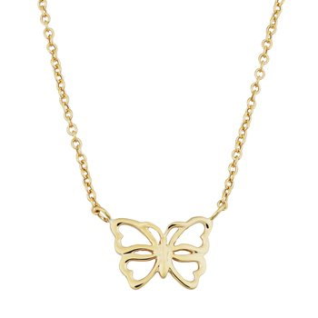 14kt Yellow Gold Butterfly Necklace