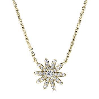14KT Yellow Gold 0.15tw Diamond Flower Necklace