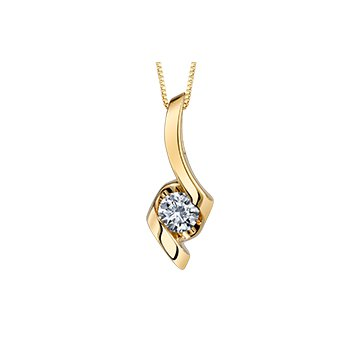Lady's 10kt Yellow Gold Solitaire Diamond Pendant