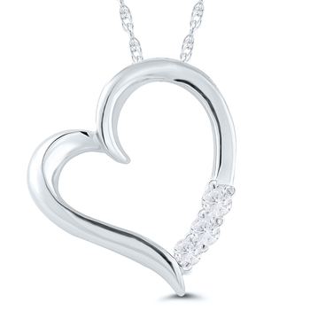 Lady's 10k White Gold and Diamond Heart Necklace
