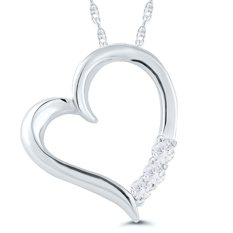 Best Sellers Lady's 10k White Gold and Diamond Heart Necklace