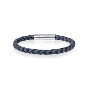 Stainless Steel Blue Grey Leather Bracelet