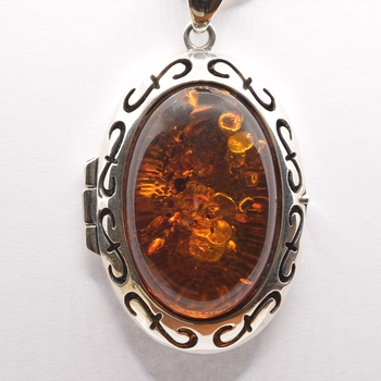 """Sterling Silver Amber Pendant and 18"""" Snake Chain"""