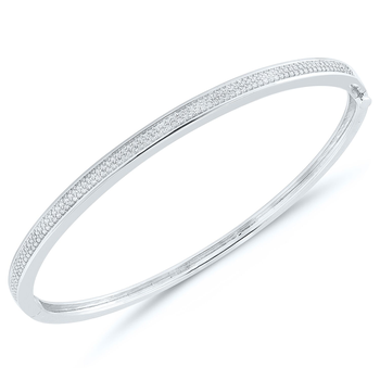 Lady's Sterling Silver Diamond Bangle
