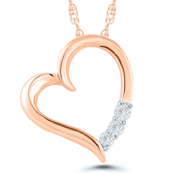 Lady's 10k Rose Gold and Diamond Heart Necklace