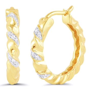 Pair of Sterling Silver Yellow Gold Plated Diamond Earrings