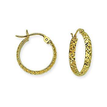 10kt Yellow Gold Diamond Cut Hoop Earring